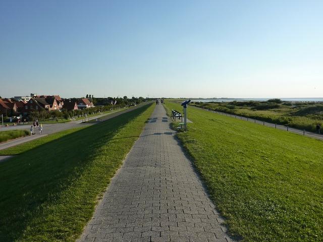 Norddeich dunes road, transportation traffic.