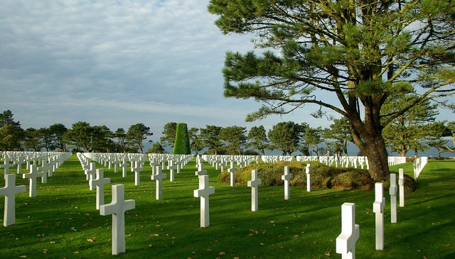 Normandy american cemetery graves.