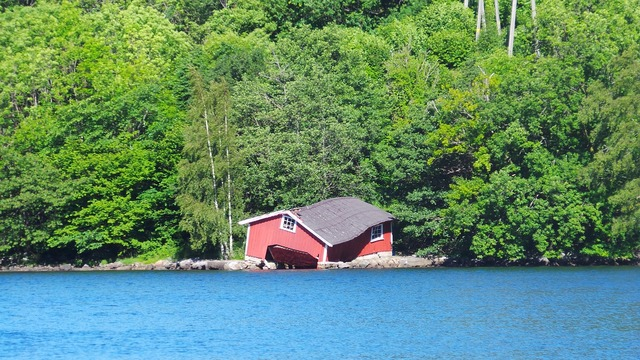 Norway boathouse fjord.