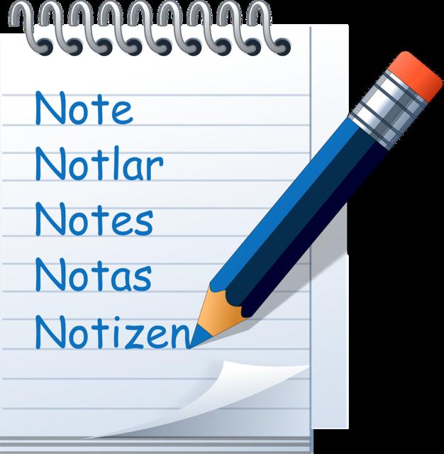 Notepad symbol write down, education.