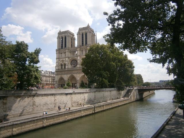 Notre-dame paris cathedral, architecture buildings.