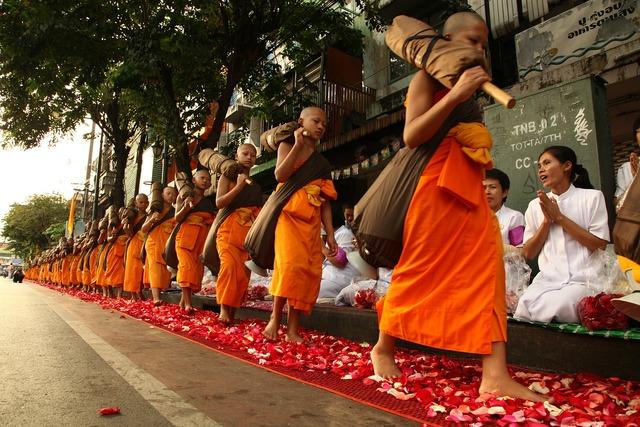 Novice buddhists walk, people.