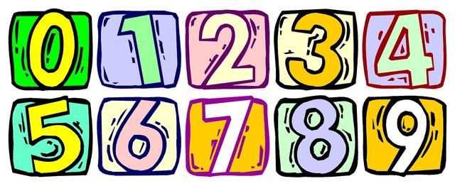 Numbers numbering school, education.
