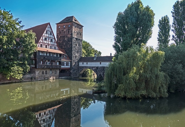 Nuremberg historically pegnitz, architecture buildings.