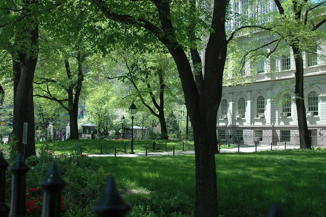Nyc city hall park, architecture buildings.