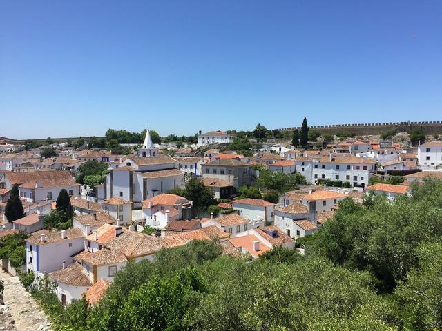 Obidos portugal city, architecture buildings.