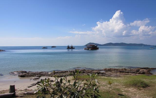 Ocean water island, travel vacation.