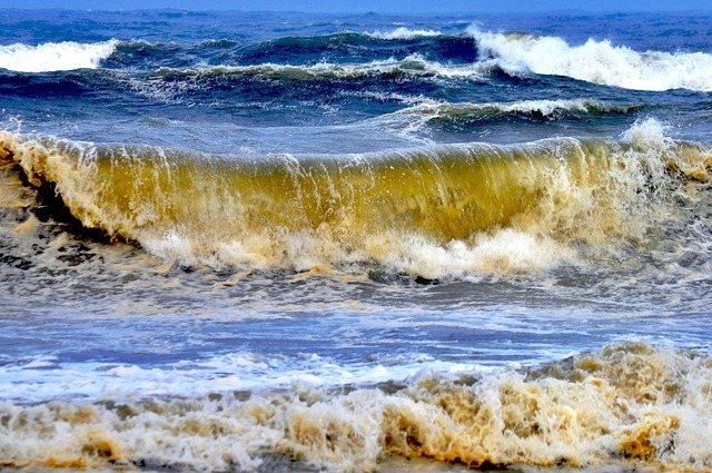 Ocean waves tide, travel vacation.