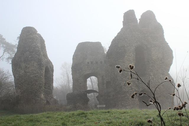 Odiham castle misty.