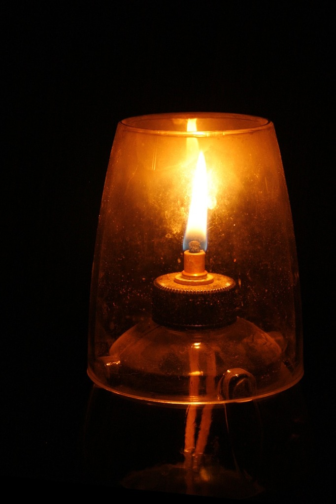 Oil lamp wick flame.