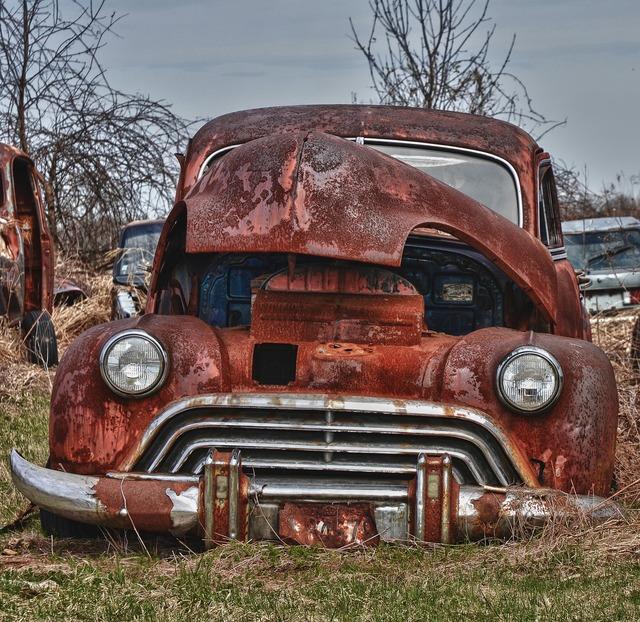 Old car car rusted, transportation traffic.