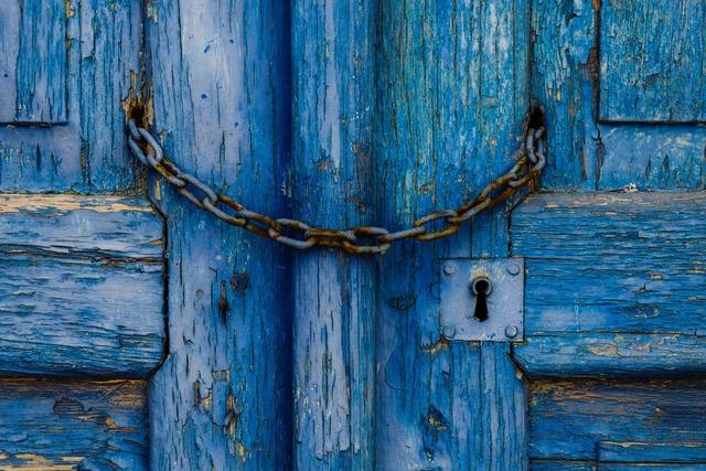 Old door wooden blue.