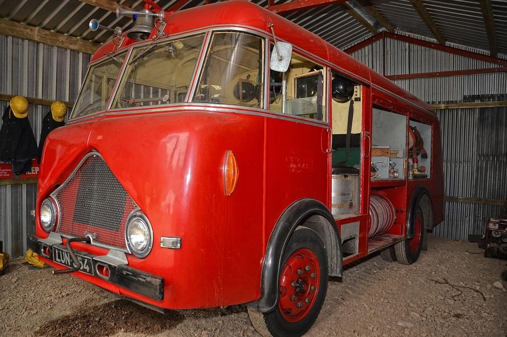 Old fire engine, transportation traffic.