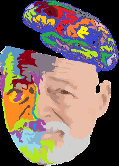 Old man portrait brain, people.