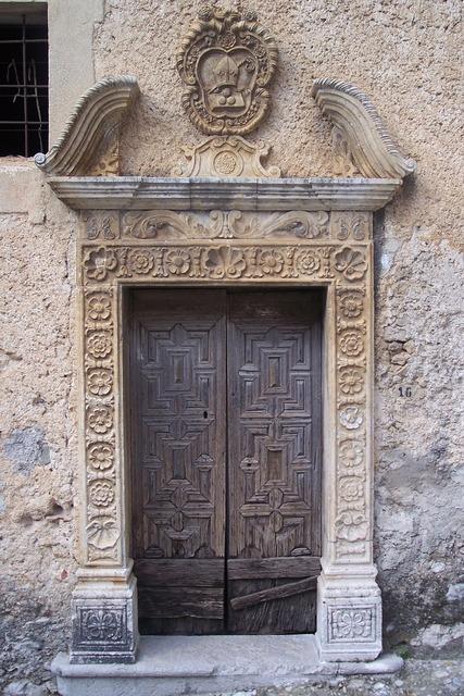 Old port portal wood door.