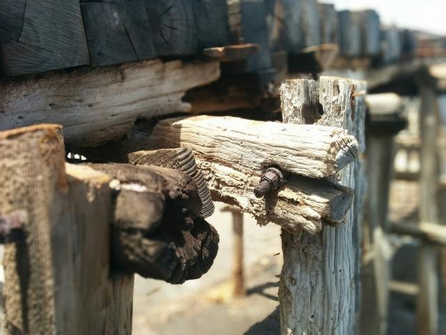 Old wood rail, transportation traffic.