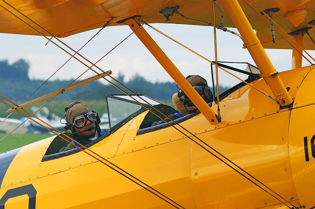 Oldtimer aircraft take off, science technology.