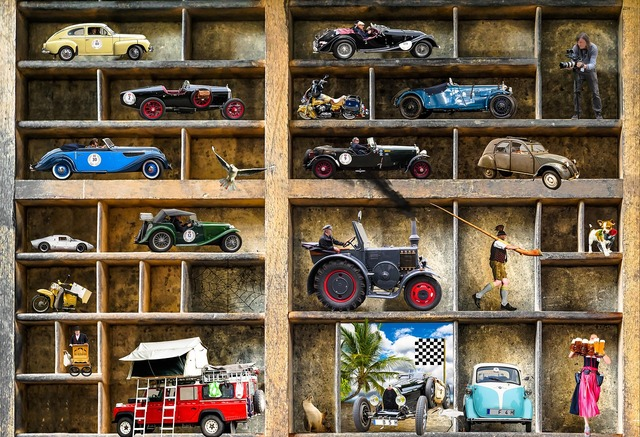 Oldtimer collection model car, travel vacation.