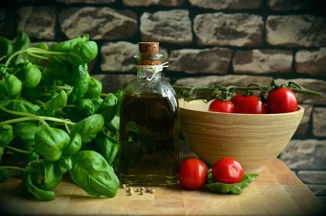 Olive oil tomatoes basil, food drink.