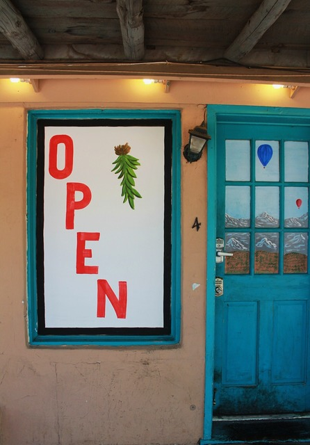 Open sign family restaurant new mexico, travel vacation.