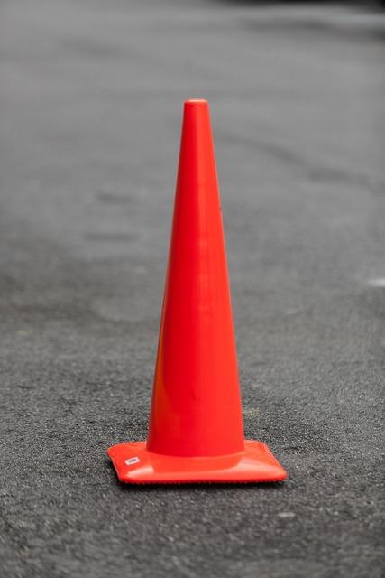 Orange cone road, transportation traffic.