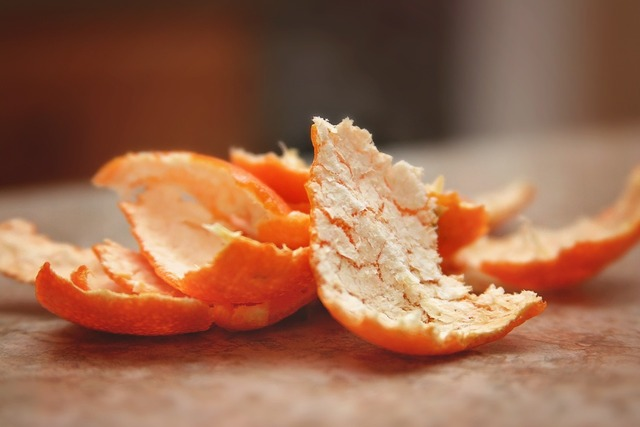 Orange peel macro, food drink.