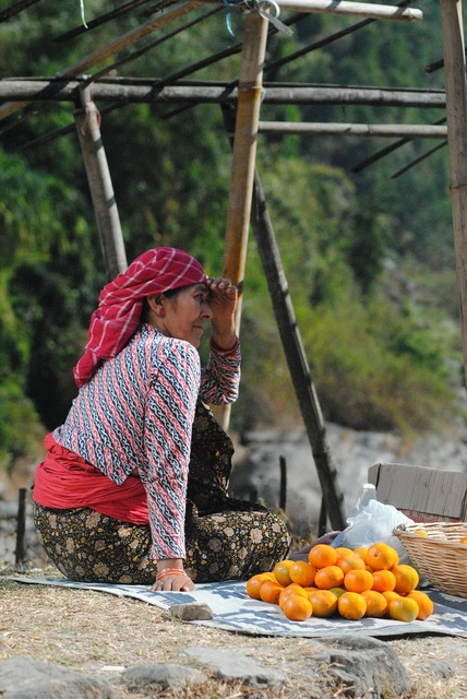 Orange seller vendor, beauty fashion.