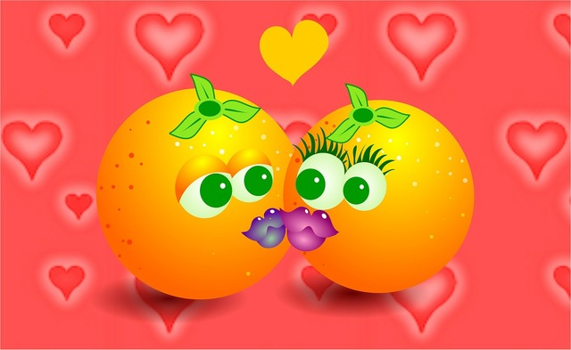 Oranges kiss kissing, emotions.