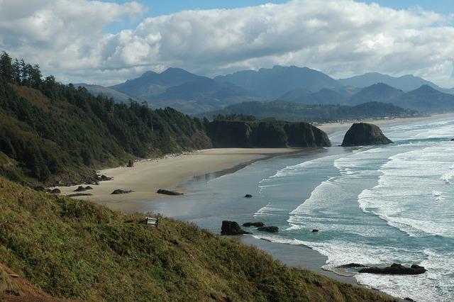 Oregon sea scape beach, travel vacation.
