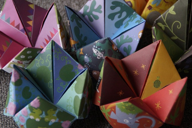 Origami heaven and hell folded, people.