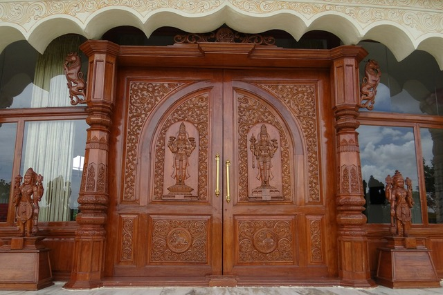 Ornate door wooden carved.