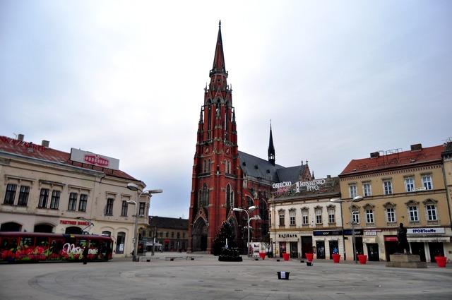 Osijek co-cathedral osijek neo-gothic, architecture buildings.