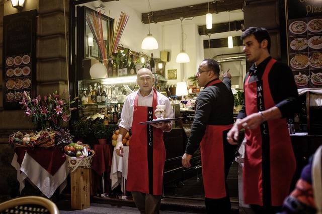 Outdoor café waiters milan.