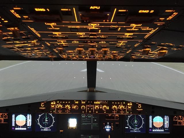 Overhead airbus a320 simulator.