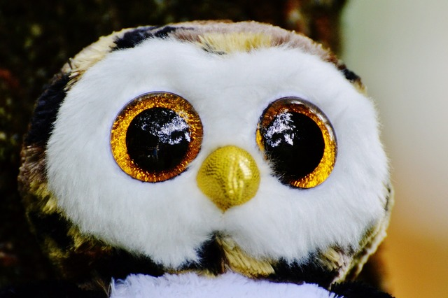Owl glitter stuffed animal.