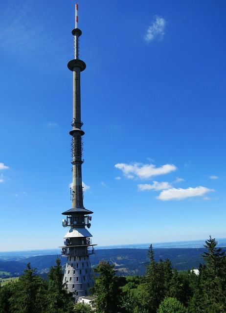 Ox-head fichtelgebirge transmission tower, nature landscapes.