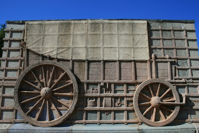 Ox wagon relief wagon, transportation traffic.