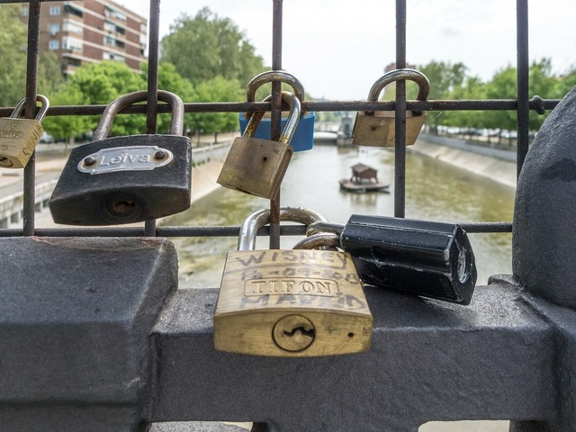 Padlock bridge river.