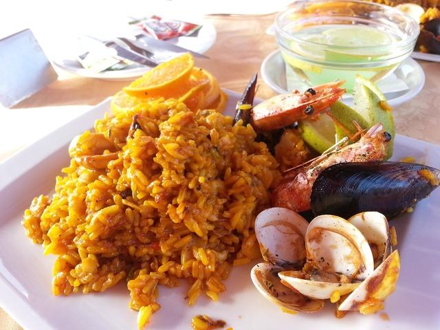 Paella fish seafood.