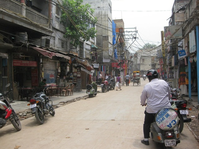 Paharganj delhi street, transportation traffic.