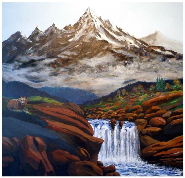 Paint color mountains, nature landscapes.