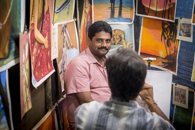 Painter india market, transportation traffic.