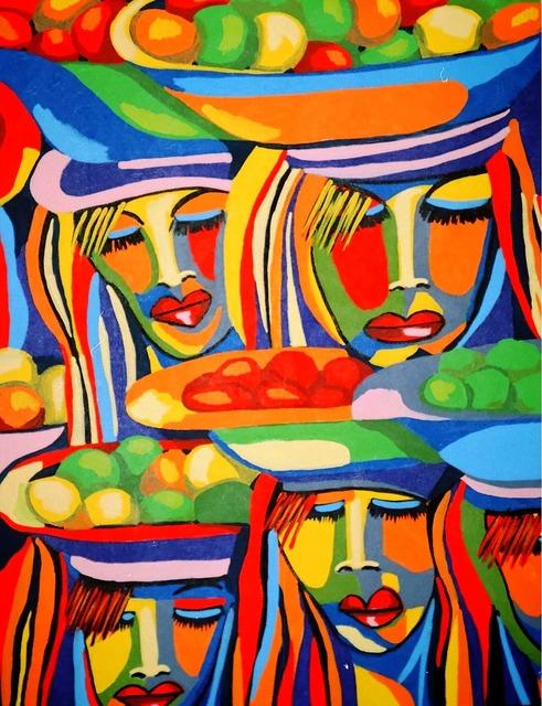Painting acrylic paint brush strokes.
