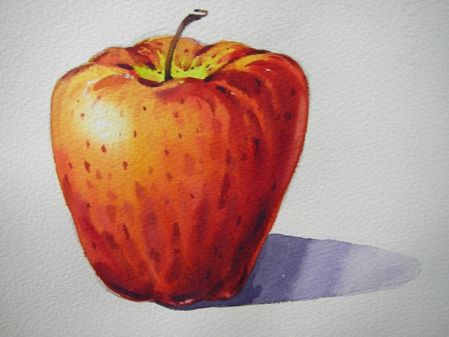 Painting apple watercolor, food drink.