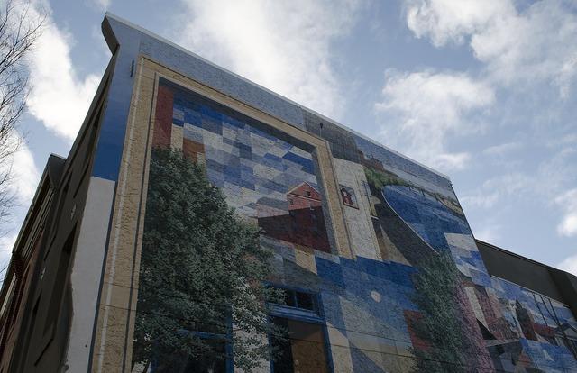 Painting philadelphia artist, architecture buildings.