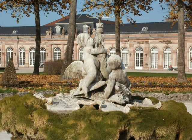Palace garden sculptures, architecture buildings.