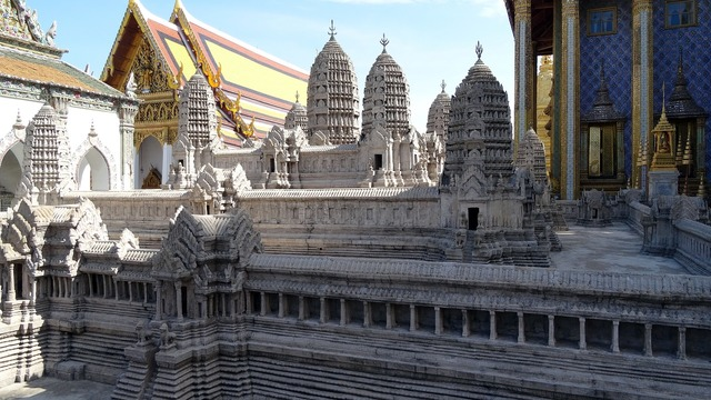 Palace temple complex towers, religion.
