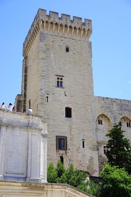 Palais des papes corner tower defensive tower, architecture buildings.