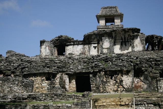 Palenque prehispanic mayan, architecture buildings.
