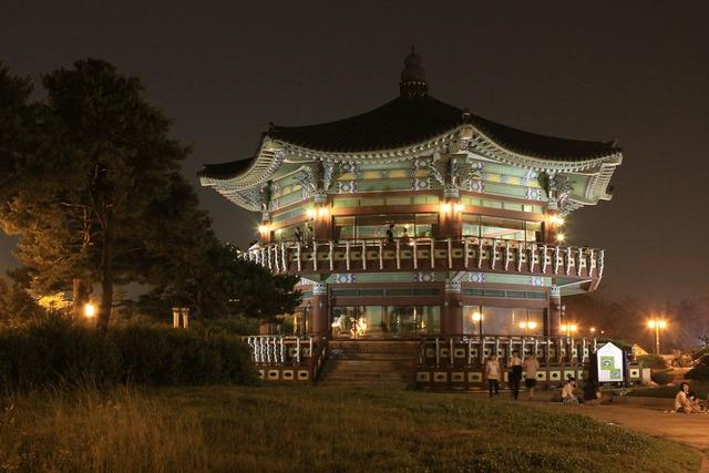 Palgakjeong cbd night view, architecture buildings.